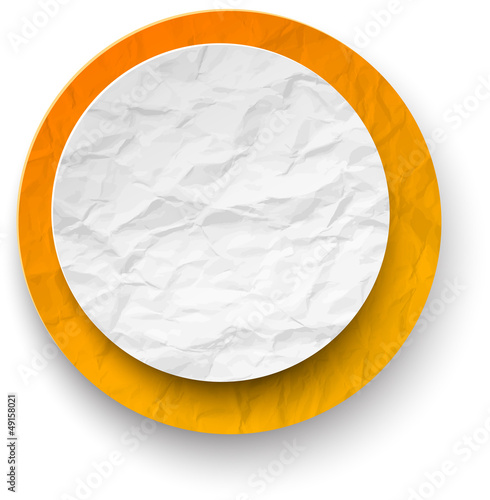 Wrinkled paper white-orange round note.