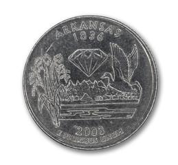 United States Arkansas quarter dollar coin on white