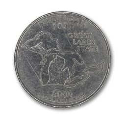 United States Michigan quarter dollar coin on white
