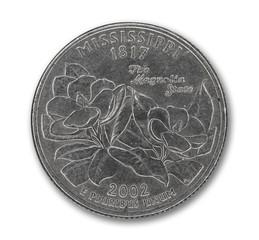United States Mississippi quarter dollar coin on white