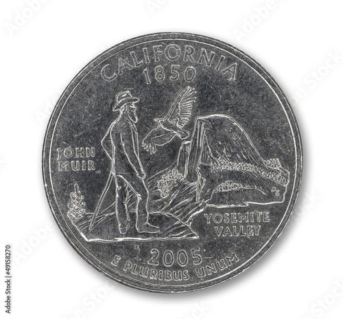 United States California quarter dollar coin on white