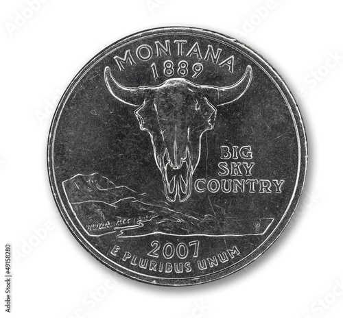 United States Montana quarter dollar coin on white