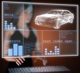 transparent car concept on hologram poster