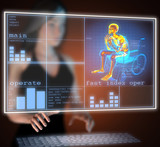 Man in wheelchair on hologram poster