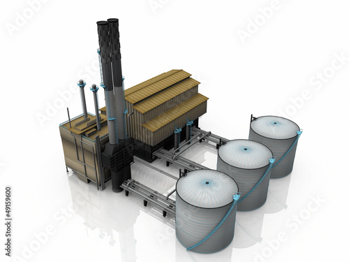 Oil  factory on white background