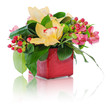 colorful floral bouquet of roses, cloves and orchids arrangement