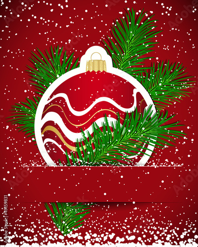 Christmas background. Sticker ball and tree branch