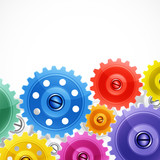 Techno background with colorful gears.