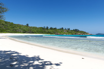 beach on La Digue island in Seychelles