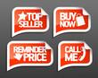 Seller speech bubbles set for online markets.