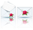 Two envelope and roses