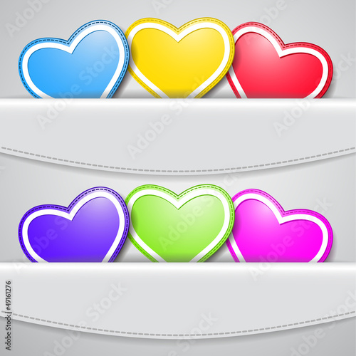 Set of colored hearts