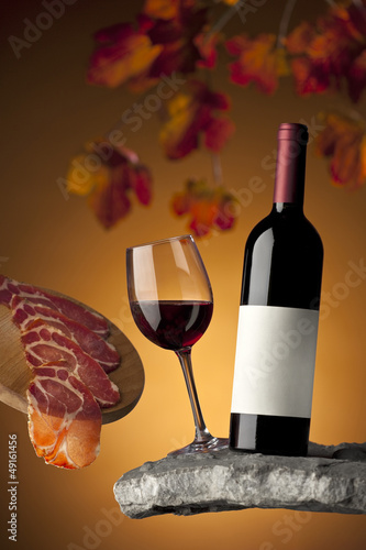 Still life with wine and meat