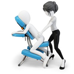 3d man an masseuse with massage chair