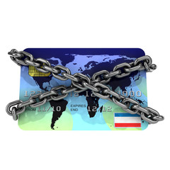 Chained credit card front view