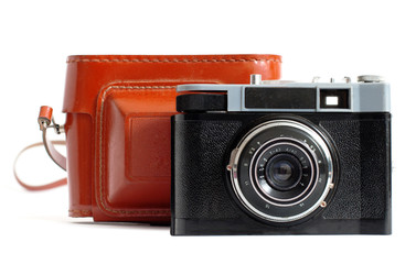 Retro camera and case. On white background.