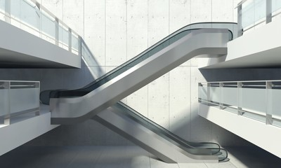 Moving escalator and modern office building