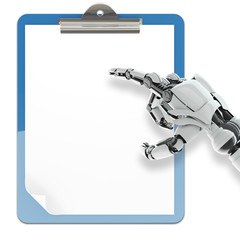 Isolated robotic arm pointing on paper pad holder