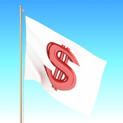 Flag with dollar waving on the wind