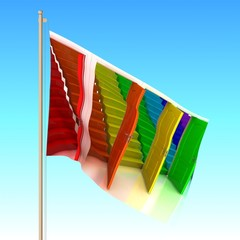 Flag with color door waving on the wind