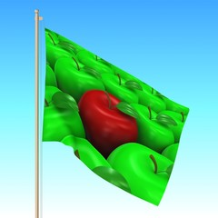 Flag with apples waving on the wind