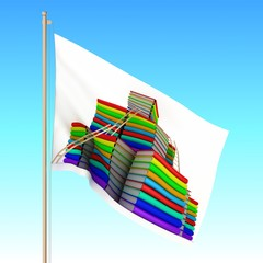 Flag with book pile waving on the wind