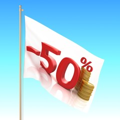 Flag waving on the wind. Sale concept