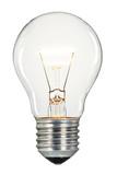Single glowing glass light bulb