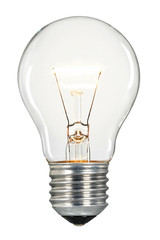 Single glowing glass light bulb