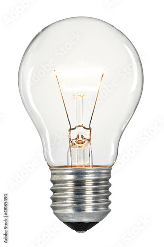 Single glowing glass light bulb - 49165494