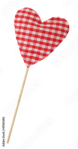 Red plaid heart on stick