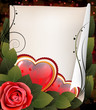 Hearts, rose and parchment. Valentine card