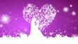 Hintergrund Herzen lila mit Brautpaar
