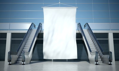 Blank advertising flag and escalator in interior