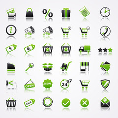 shopping icons reflection