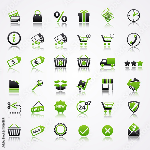 shopping icons reflection