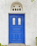 blue door of a typical Mediterranean island house