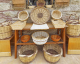 variaety of rattan baskets