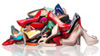 canvas print picture - Pile of various female shoes over white