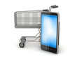 Shopping cart and cell phone on white background