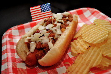 American Picnic Chili Dog with Chopped Onions