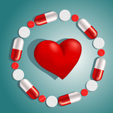 heart surrounded by pills