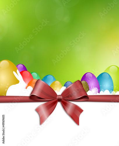 Osterkarte grün mit Hasen und Schleife