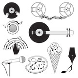 Set of black and white music icons.