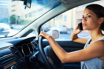 driving phone woman