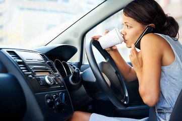 coffee driving woman