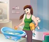 Bathing the baby in the bathroom