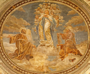 Verona -  Fresco of Virgin Mary in San Bernardino