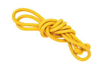 yellow rope tied knot. isolated on white background