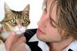 Portrait de chat avec jeune-homme
